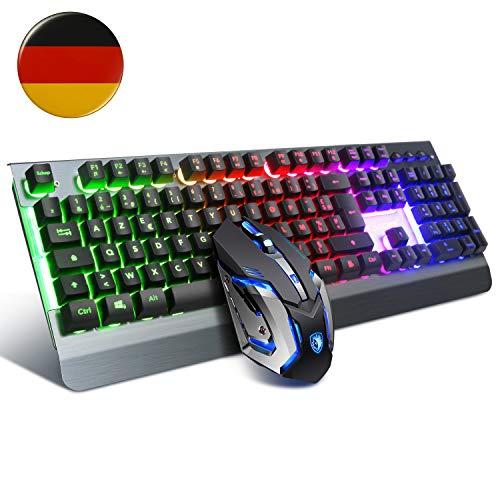 SADES - Teclado y ratón para juegos (USB PC, teclado para Mac/Win, ratón de juegos con 6 DPI y teclado con cable para juego)