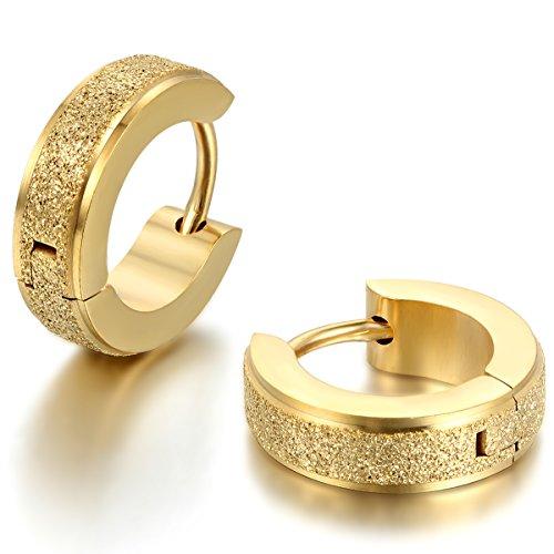 JewelryWe Pendientes de Aro Unisex Acero Inoxidable Pendientes Huggies Aros para Hombre Mujer, Pendientes Hip Hop Retro Vintage 1 Par Dorado