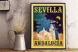 IUBBKI Póster retro de Sevilla, Andalucía, Sevilla España con estampado vintage de viaje, diseño vintage retro de metal, 20 x 30 cm