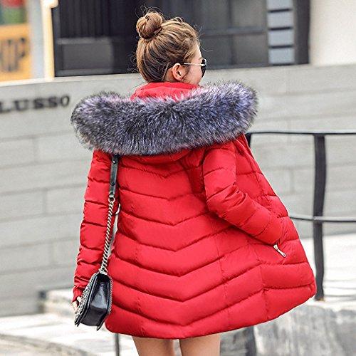 Womens Parka Warm Autumn Winter Jacket Coat Thick Hoody Winter Coat Slim Parka Warm Down Jacket Red L