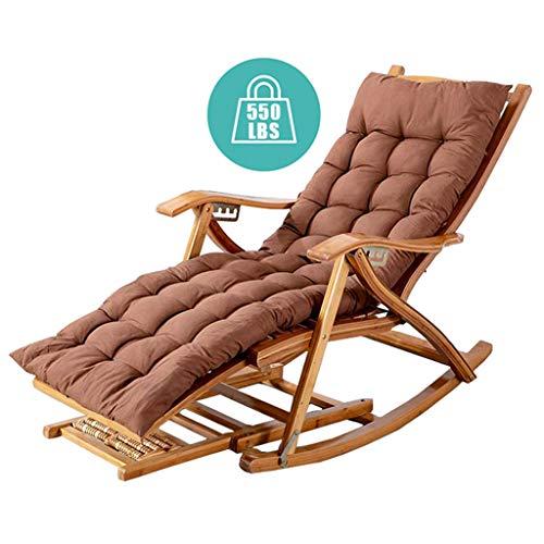 Chaises à Bascule pour Adultes Ajustable Pliable Chaises inclinables Sun Bambou en Bois avec rembourré pour Beach Patio Garden Camping Max.250 kg