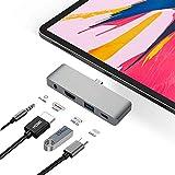 Adaptador USB C Hub para iPad Pro Accessories 2018 12.9' 11', estación de acoplamiento 4 en 1 tipo C Dongle con convertidor HDMI, conector para auriculares de 3,5 mm, carga USB-C PD, puerto USB 3.0