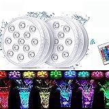 Luz Sumergible con Mando a Distancia, [12 Pack] Impermeable Luces de Piscina para Decoración de Acuarios / Bodas / Fiestas / Piscinas / Salas de estar / Peceras [Clase de Eficiencia Energética A]