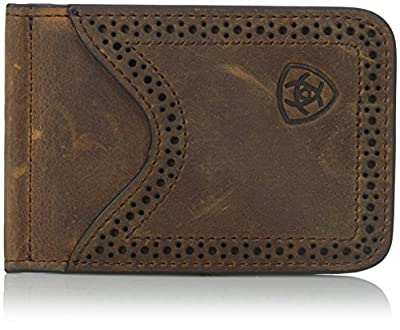 Ariat Ariat Shield Perforated Edge Money Clip Money Clip Medium Distressed Brown One Size