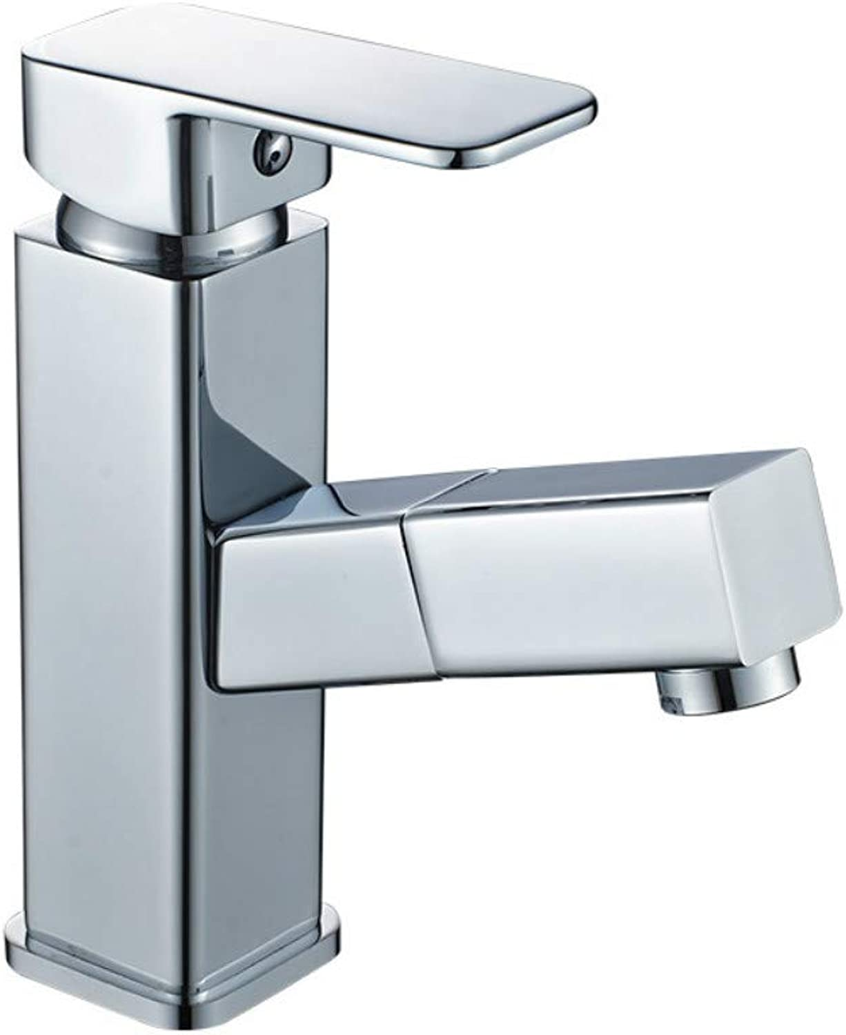 Cold and hot washbasin Faucet Cuboid Pulling Faucet