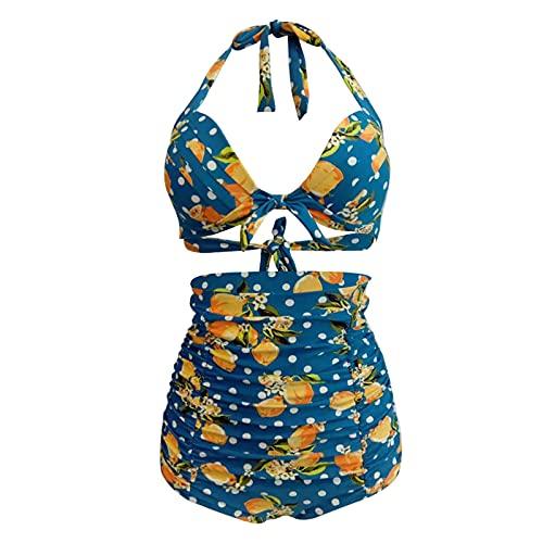 vowit Bikini Vintage De Mujer, Trajes De Baño De Push Up De Dos Piezas con Control De Abdomen De Talle Alto Fruncido
