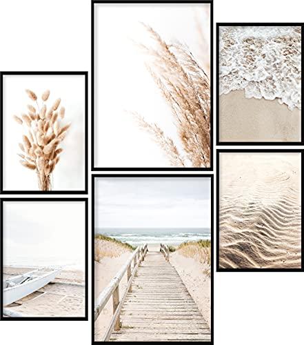 Calias® Premium Poster Set Beige, Pampasgras, Meer | Bilder Set für Wohnzimmer Deko oder Schlafzimmer Deko | Stilvolle Wanddeko | 6er Set ohne Rahmen | 2X DIN A4 und 4X DIN A5