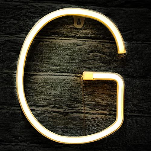 Letrero de Neón LED de Techo Luz LED de Neón de Símbolo Alfanumérico de Encender con Interruptor de Control Remoto Inalámbrico para Decoración Navidad Fiesta Casa Bar (Letro G)