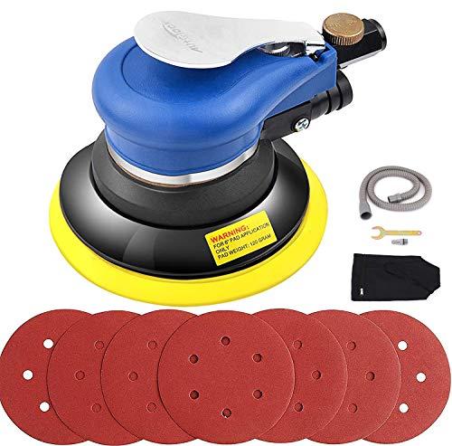 Autolock 6 Zoll pneumatischer exzenterschleifer Vakuumfunktion,Ausgestattet mit einem staubdichten Schalter und 7Stück Schleifpapier+Ein Chassis,zum Polieren,Schleifen von Autos, Metallen und Holz