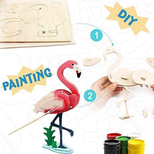 La Vida en Led DIY Flamingo 3D-Puzzle aus Holz