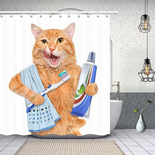 Cat Brushing Teeth Shower Curtrain