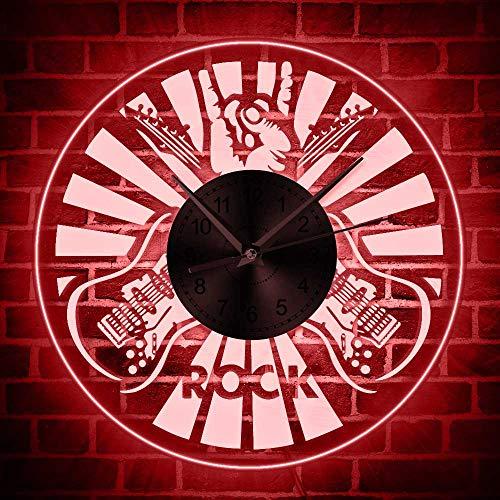 BFMBCHDJ Doppelte Gitarren Vintage Wandleuchte Uhr Musikinstrument Wanduhr Home Decor Moderne Wandkunst Große Geschenkideen für Musiker