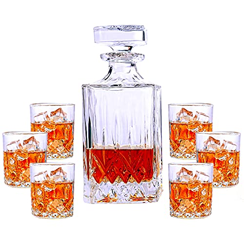 PARACITY Whiskey Decanter and Glasses Set, Crafted Crystal Liquor Decanter Set with 6 Alcohol Glasses for Bourbon Scotch Vodka Wine or Gifts for Men