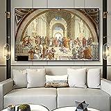 tzxdbh La Famosa Escuela de Pintura y Arte de Raphael en Atenas, Carteles e Impresiones de lienzos y Pinturas murales, decoración de la Sala sin Marco sin Marco 50x80cm