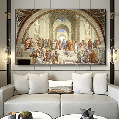 yhyxll Célèbre école d'art de Peinture d'Athènes par Raphaël Affiches et Impressions sur Toile Art Mural Photos pour Salon décor sans Cadre 70x110cm