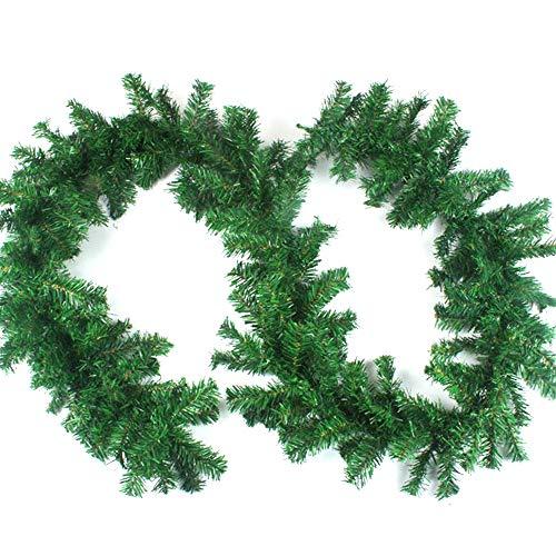 Amacoam Guirlande Sapin Vert Branche Sapin Artificiel Guirlande Cheminée Noel Branche de Sapin Decorative PVC Guirlande de Noel Sapin Decoration Noel pour Maison Escaliers Porte et Fenêtre 270 cm