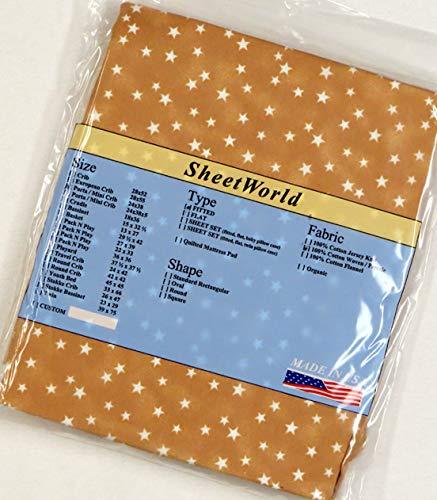SHEETWORLD.COM Stars Camel Cotton Portable Mini Crib Sheet - 24 x 38
