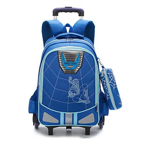 ZZLHHD Escolar Trolley niña,Trend Rod Bag, Mochila de Dos usos-Azul,Primaria Mochila Niños con Ruedas
