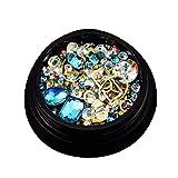 LAANCOO Un Clavo de la decoración del Arte Box Set del Remache de Frutas Crystal Rhinestone Mixto Tamaño de la Parte Posterior Plana 3D Accesorios de manicura (Agua Azul)