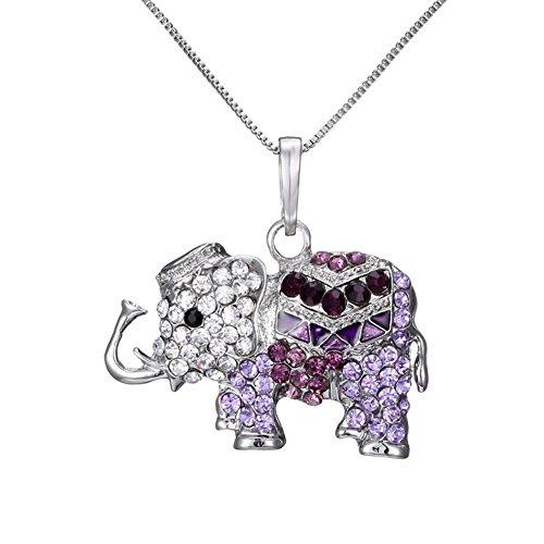 fablcrew Halskette für Damen Anhänger Damen Halskette Elefant Halskette Anhänger Liebespuppe 35cm+8cm violett
