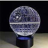 Estrella de la Muerte 3d Lámpara LED óptico Engaños Luz Nocturna, 7 Cambio de Color Con Acrílico Toca Lámpara de Escritorio Lámpara de Mesa@Only Touch Switch