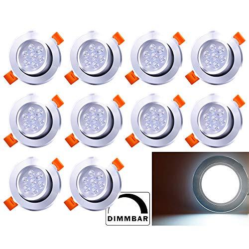 BMOT Paquete de 10 7W LED Empotrable de techo Luz regulable Blanco frío 560lm Downlights 7W = 60W Bombilla 3200K Foco para sala de estar Dormitorio Cocina Baño