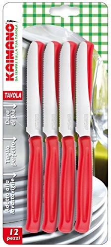 Kaimano KDN041512R Dinamik Coltelli Tavola, Acciaio Inossidabile, Rosso, 12 unità
