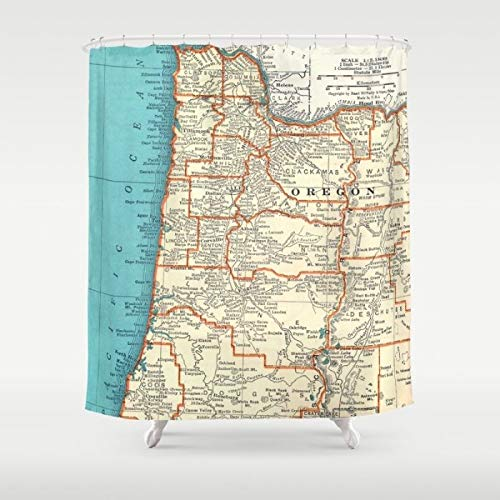 Ad4ssdu4 Oregon Küste Landkarte Duschvorhang Portland Oregon Landkarte Blaugrün Pacific Ocean Bad Surfer Strand Dekor