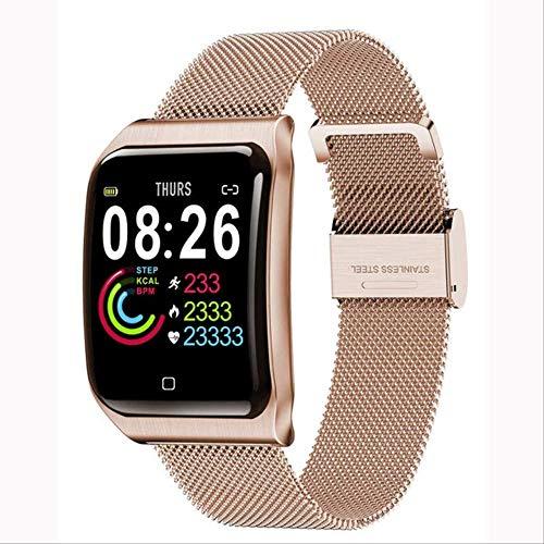 YUJY Smartwatch Mehrere Sport Smartwatch Herren Ios Ip68 wasserdichte Herzfrequenz Smartwatch Blutdruckmessgerät Bluetooth Gesundheit Armband Roségold