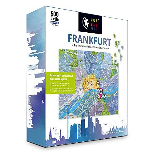 PuzzleMap Frankfurt - Puzzle de mapa de la ciudad | XXL 500 piezas | con folleto y tarjeta plegable | 68 x 48 cm Tamaño | Guía de viaje regalo souvenir