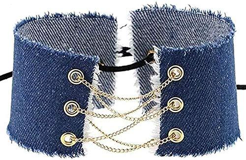 huangshuhua Collar, Collar, Hecho a Mano, con Cordones, Lazo, Borla, Gargantilla de Mezclilla, Cuello Vintage, Mujeres, Moda, Ancho, Empalme, Jeans, Collar, Collar, Regalo