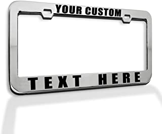 Speedy Pros Custom License Plate Frame Custom Personalized Text Funny Metal Cute Car Accessories License Plate Holder Chrome 2 Holes 1 Frame