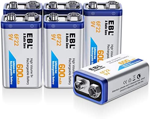 EBL 9 Volt Rechargeable Batteries Lithium ion 9V 600mAh Li-ion Batteries (4-Packs)