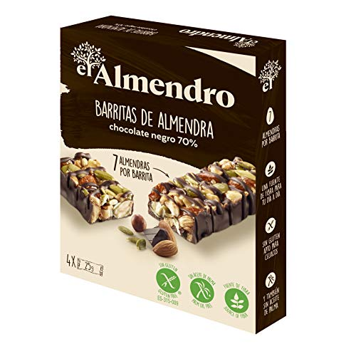 El Almendro - Barritas de Almendra y Chocolate 70% - 4 unidades. Sin Gluten, Sin Aceite de Palma, Alto Contenido en Fibra