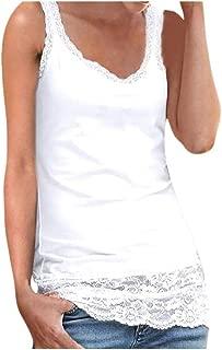 Sunhusing Ladies Lace Stitching Sleeveless Vest with Lace Trim Hem Embellished Beach Tank Top Shirt