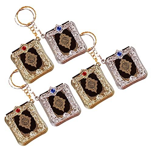 STOBOK 6Pcs Mini Alcorão Islâmico Muçulmano Alcorão Livro Chaveiro Keychain Do Vintage Espelho de Carro Pingente Pendurado Decoração Do Saco Da Bolsa Carteira para Dom Religião (Cor