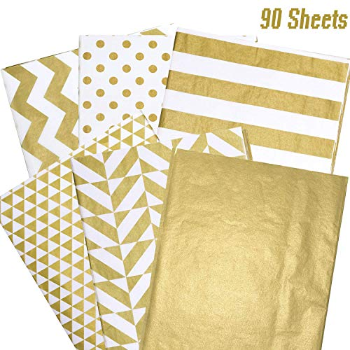 Whaline 90 Sheets Gold Tissue Paper Bulk, Metallic Gift Wrapping Paper for Birthday Party, Arts Crafts, DIY, Weddings, Bridal Showers