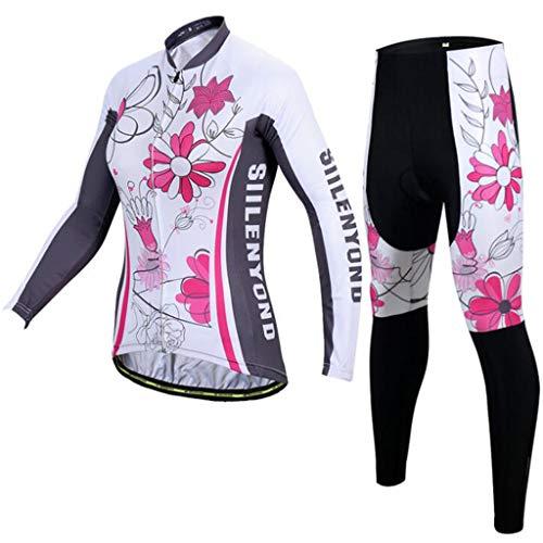 Donna Completo Ciclismo Abbigliamento, Autunno E Inverno Panno Termico Set di Abbigliamento Ciclista Maniche Lunghe Antivento Ciclismo Maglia + 3D Pantalone Imbottito,B,M
