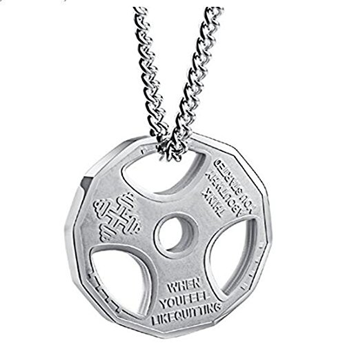 JAJAFOOK Mens Stainless Steel Fitness Gym Dumbbell Plate Barbell Chain Pendant Necklace Jewelry