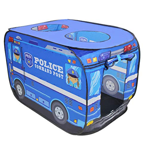 deAO Police Truck Foldable Play Tent -Children Play House Indoor Outdoor Play Toy Great Gift for Kids