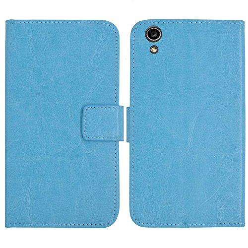 TienJueShi Blau Flip Book-Style Brief Leder Tasche Schutz Hulle Handy Hülle Abdeckung Fall Wallet Cover Etui Skin Fur MEDION Life S5504 MD 99905 5.5 inch