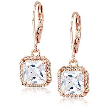 kate spade new york Princess Cut Leverbacks Save The Date Princess Cut Leverbacks Clear/Rose Gold Drop Earrings