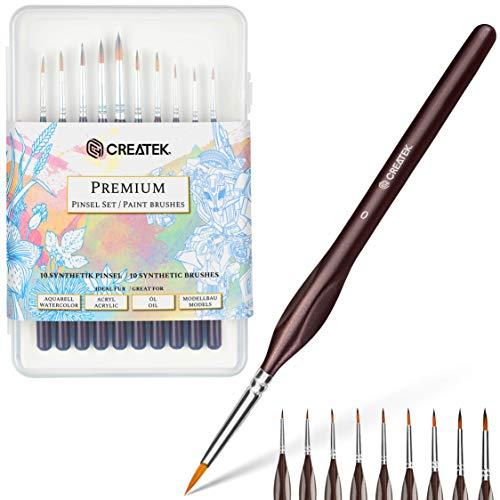 CreaTek Pinselset Malen | Feine Pinsel in Größe 5/0 bis 8 + Hardcase zur Aufbewahrung | Perfekt geeignet für Aquarell, Acryl, Öl | Malen nach Zahlen Pinsel Set | Pinsel Fein | Modellbau Pinsel
