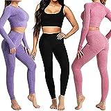Conjunto Yoga 3 Piezas Ropa Fitness , Pantalones De Yoga Súper Elásticos Sin Costuras+Bralette Para Mujer+Camiseta Deportiva De Manga Larga Sin Costuras Mujer Negro ( S
