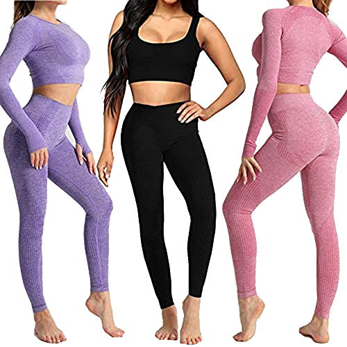 Conjunto Yoga 3 Piezas Ropa Fitness , Pantalones De Yoga Súper Elásticos Sin Costuras+Bralette Para Mujer+Camiseta Deportiva De Manga Larga Sin Costuras Mujer Negro ( M