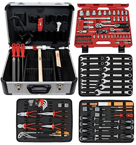 FAMEX Komplettset Top Qualität Mechaniker Werkzeugkoffer mit 66-teiligem Steckschlüsselsatz, 720-24
