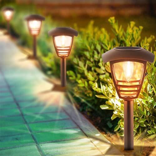 Solarleuchte Garten Warmweiß LED Solar Gartenleuchte Wegeleuchte mit erdspieß IP44 Wasserdicht, 2 Stück Solarlampe Dekorative Licht für Außen, Landschaft,Terrasse, Rasen, Garten, Gehweg usw