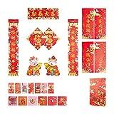 春節春聯 お正月 中国の春祭りの対句 2021年 家飾り 牛年大吉-福字/年画/红包 装飾セット (新春大吉)