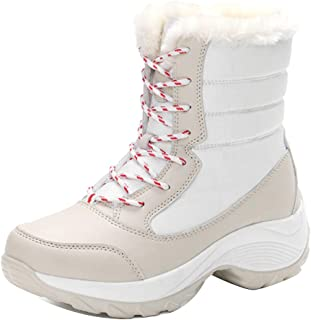 Fulision Female Winter Fashion Lace-up Thicken PU Sole Cotton Snow Boots