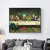 Impresión en lienzo Arte Pintura famosa Impresión en lienzo Copia La última cena Arte moderno de la ...